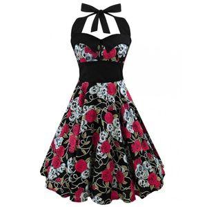 Dresses & Skirts - Sleeveless Halter Skull Dress in Red